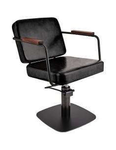 Kundstol ENZO svart med svart base Barber Made in Europe