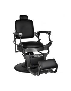 Barber Chair HAMMARE Herrenfriseurstuhl in schwarz mit dunklem silber