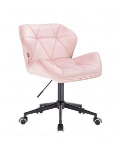 Arbetsstol velour rosa svart Hjul H 40-55 cm