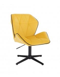 Arbetsstol velour gul svart base H 40-55 cm